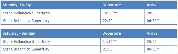 DFDS Dover to Calais (and return) timetable